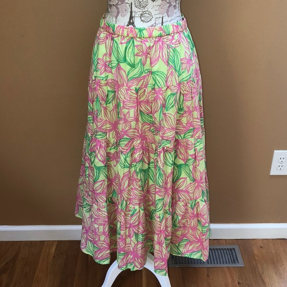 hot-selling genuine discount sale shoes for cheap Lilly Pulitzer Pink Green White label M Maxi Skirt
